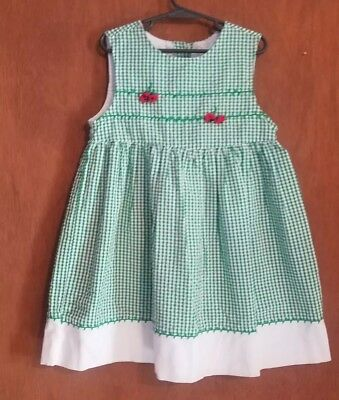Samara 2 Piece Outfit Green Gingham Embroidered Strawberry 6X Jumper Shorts