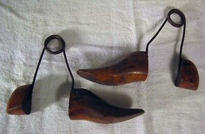 Pair of  Antique Vintage Wooden Shoe Boot Trees Stretchers