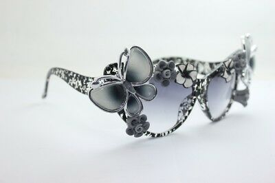 Sunglasses Women Beach Retro Vintage Flower Floral Cat Eye Holiday Glasses