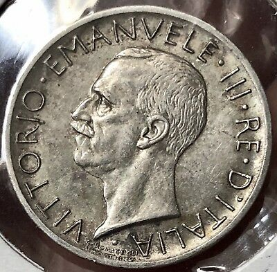 Italy 1927R 5 Lire .835 Silver KM# 67.1 XF+  with Toning & Luster