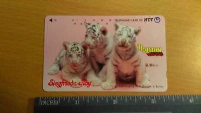 Siegfried & Roy Japan Japanese Phone Card 3 White Cubs/Pink Background