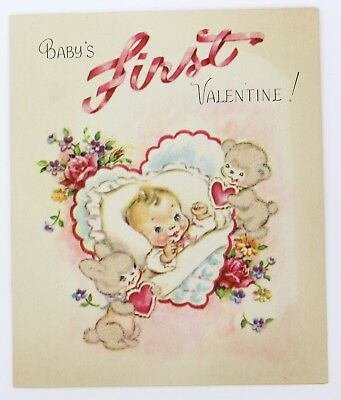 Vintage Greeting Card Baby's First Valentine Cute Bear Bunny Rust Craft 1940s