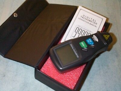 Digital Tachometer- Laser Photo... Non Contact Rpm Tach Meter Kit... With Strips