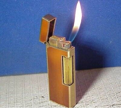 "SWISS Made, RARE ""A/D"" Dunhill Gemline Pipe Lighter, Vtg Gold Plate WITHOUT LEAK"