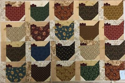 ~20~ Scrappy ~Funky Chickens~ Quilt Blocks~ For Quilt Top~ Thimbleberries~1~