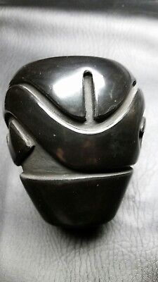 Carved Black Santa Clara Pot by Stella Chavarria