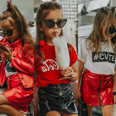 USA 6M-4T Baby kids Girls Outfits Sequins Leather Mini Skirt Dress Clothes Set