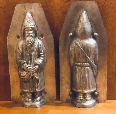 "Vintage 7"" Santa Father Christmas Metal Antique Chocolate Mold Candy Crafts"