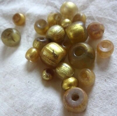 100 BC Mediterranean Antiquity drawn Gold in Glass Beads Rare Ancient Trade
