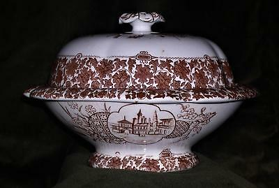 ANTIQUE COPELAND SPODE CAIRO BROWN AESTHETIC TRANSFERWARE LRG BUTTER OR SOAP 3pc