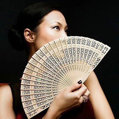 Chinese Folding Bamboo Original Wooden Carved Hand Fan fit Wedding Party new.