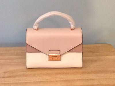 Michael Kors Sloan Medium Double Flap TH Leather Satchel Pink Cream Fawn NWT