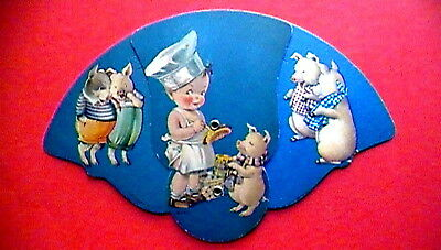"""Vintage W. Baringer """"choice Home Dressed Meats"""" Advertising Hand Held Pull Fan"""