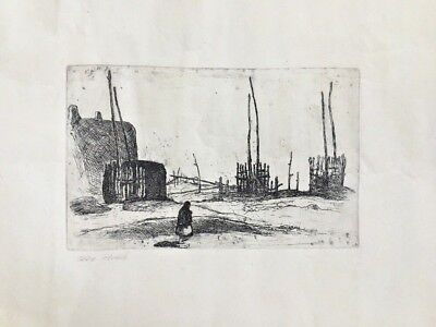 "Kivas Taos Pueblo Unsigned Original Etching 10"" X 6 1/4"" Image With Wide Margins"