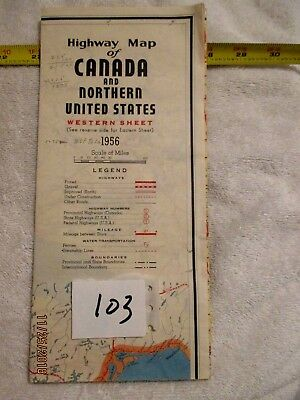 1956 Canada & Northern United stated Highway Map Great color mileage roads