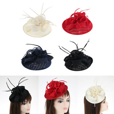Vintage Women's Feather Fascinator Derby Pillbox Hat for Cocktail Tea Party