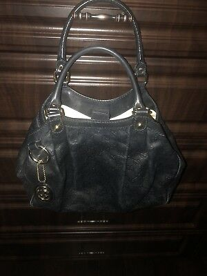 9b50da01c6c7 GUCCI SUKEY MEDIUM Guccissima Shoulder Black Leather Tote - $650.00 ...