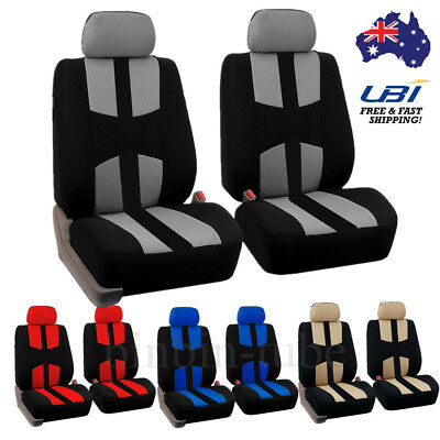 4PCS Universal Car Seat Covers Full Set Front&Rear Seat Back Head Rest Protector