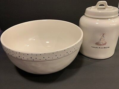 "Rae Dunn ""I Believe in Celebrating."" Birthday Mixing Bowl & Canister Set"