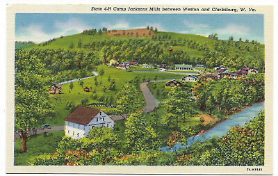 Linen postcard, 4-H camp Jacksons Mills between Weston and Clarksburg, W. VA