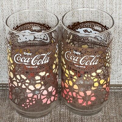 Set of 2 VTG. Coca-Cola Tiffany Style Floral Drinking Glasses  1960's  EXCELLENT