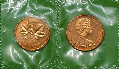 1965 Canada Large Beads and Blunt 5 Penny Sealed in Cellophane