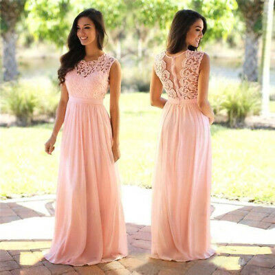 Chiffon Long Evening Formal Party Dress Prom Ball Gown Bridesmaid Real Picture
