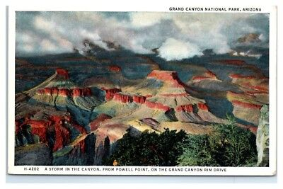 A Storm in the Canyon from Powell Point, Grand Canyon, AZ Fred Harvey Postcard