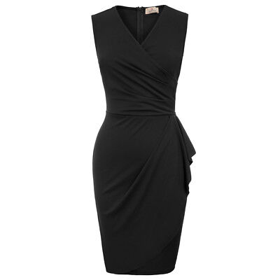 Sexy Womens Sleeveless V Neck Bodycon Dress Casual Sexy Work OL Pecncil Dresses