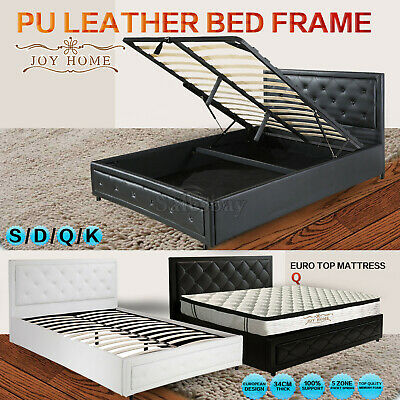 Bed Frame PU Leather Double Queen King Size /Gas Lift Bedroom Furniture Storage