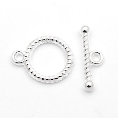 20 Set Tibetan Silver Toggle Clasps Round Connector Craft Jewelry Making 16x13mm