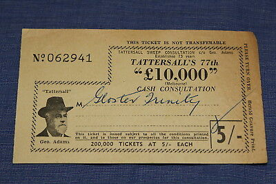 1940s 50s TATTERSALLS £10,000 5/ Cash Consultation 77th Vintage Lottery Ticket