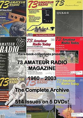 73 AMATEUR RADIO - FULL RUN 514 MAGAZINES ON 5 DVDs - WIRELESS CB HAM EQUIPMENT
