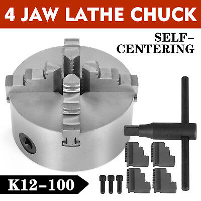 4'' Lathe Chuck K12-100 4 Jaw Self Centering Wood Turning Reversible Jaw Scroll