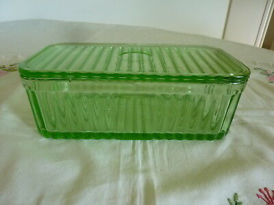 Vintage Green Depression Glass  2Lb Butter Storage Dish Container With Lid.