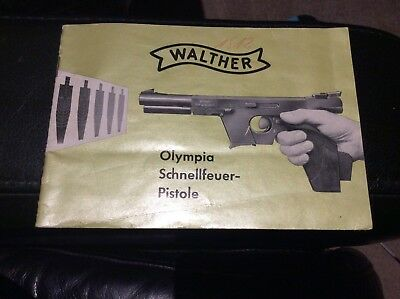 WALTHER PISTOLE Olympia schnellfeuer booklet specifications Target shooting