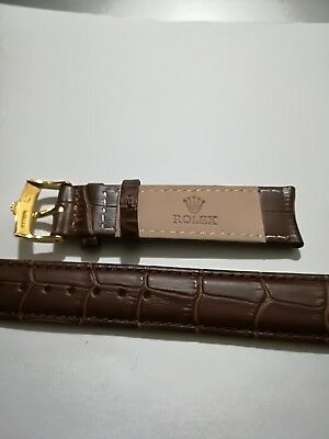 cinturino in vera pelle marrone marcato Rolex swiss made 20mm  fibbia gold