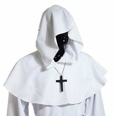 HOT Medieval Hooded Cowl Hood Halloween Fancy Cosplay Costume w Cross Necklace