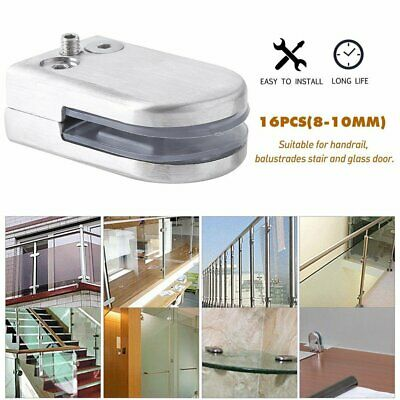 16x Stainless Steel 304 Glass Clamp 6-12mm Clip Flat Back Bracket For Handrail