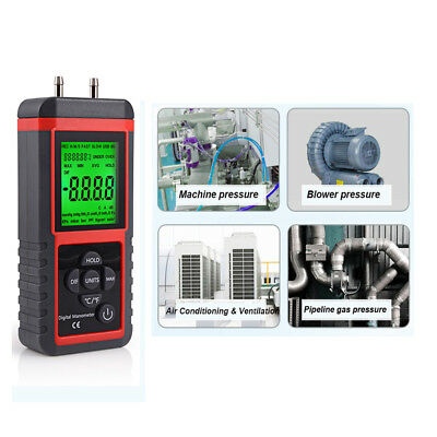 Digital Manometer Differential Air Pressure Meter ±2.999Psi Gauge High KPA