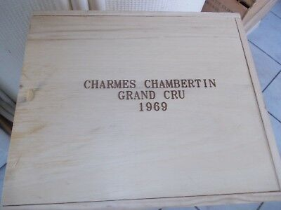 CAISSE BOIS VIDE  CHARMES CHAMBERTIN 1969  (  pour 3  bouteilles) Grand Cru