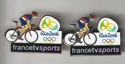 2 pin's JO Rio 2016 Cyclisme France TV Sports argent et or