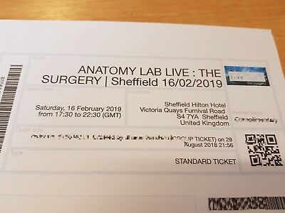 Anatomy LAB Live: The Surgery ticket x 2 Sheffield Sat 16th February 2019