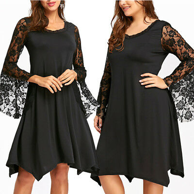 76d7fbf341f Elegant Women Plus Size Floral Lace Dress Flare Long Sleeve Cocktail Party  Dress