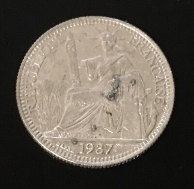 French indochina Vietnam 10 Cents Silver Coins 1937, KM# 16 XF condition