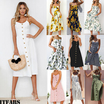 Women Fashion Summer Long Maxi Dress Casual Sleeveless Evening Party Cocktail