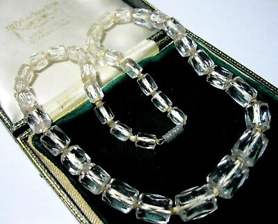 VINTAGE Antique ART DECO 1930's Crystal Unusual Barrel Bead Jewellery NECKLACE