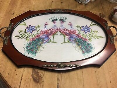 Vintage Retro Peacock Embroidered Glass Topped Ornate Wooden Serving Tray
