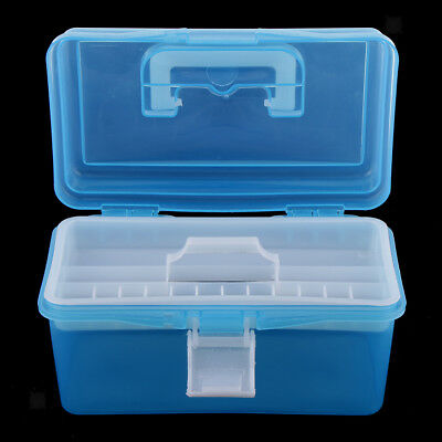 Plastic Storage Boxes With Tray Home Craft Sewing Hobby Tool Organizer Case
