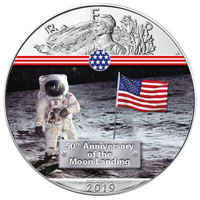 Silber Eagle First Man on the Moon Mondlandung 1 OZ Unze Ounce Silver 2019 USA